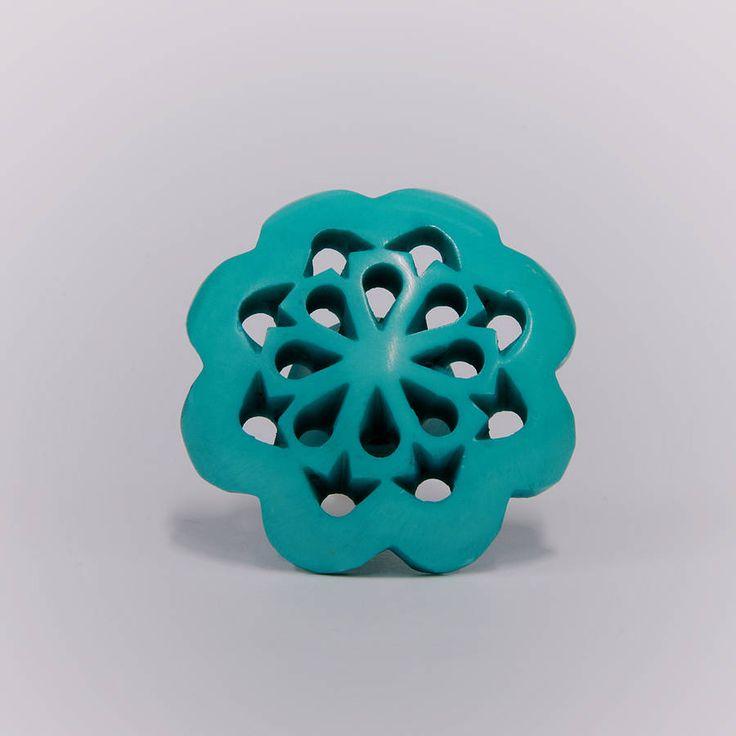 Acrylic Persia Flower Knob Turquoise