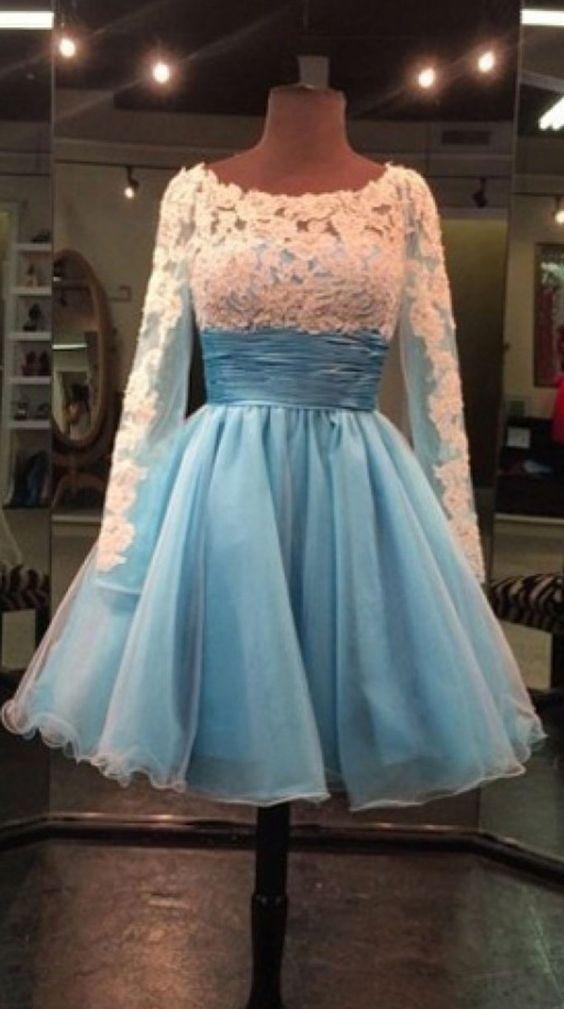 Charming Prom Dress,Sexy Prom Dress,Full Sleeve Homecoming Dress,White