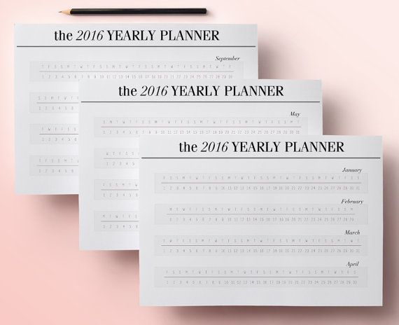 2016 Yearly Planner Printable Pages, Year at a glance calendar, Printable Calendar, Digital Planner Page, INSTANT DOWNLOAD pdf
