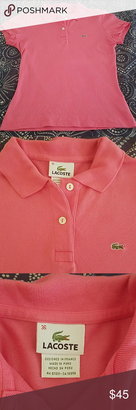 Lacoste Women's Polo 36 Gently used Lacoste Women's Polo Shirt. Size 36. Posted size chart from Macy's website converts it to a 4 or XS/S. No holes or stains. Always hung dry. Logo on chest. Purchased from Nordstrom.   Sorry - no trades. From a smoke-free home. Bundle and save! Lacoste Tops
