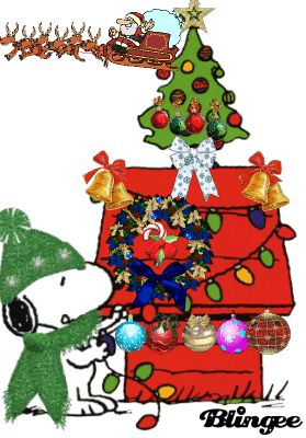 Snoopy's Christmas Dog House, with SANTA AND SLEIGH FLYING, CANDY CANE SWINGING AND BALLS FLASHING!