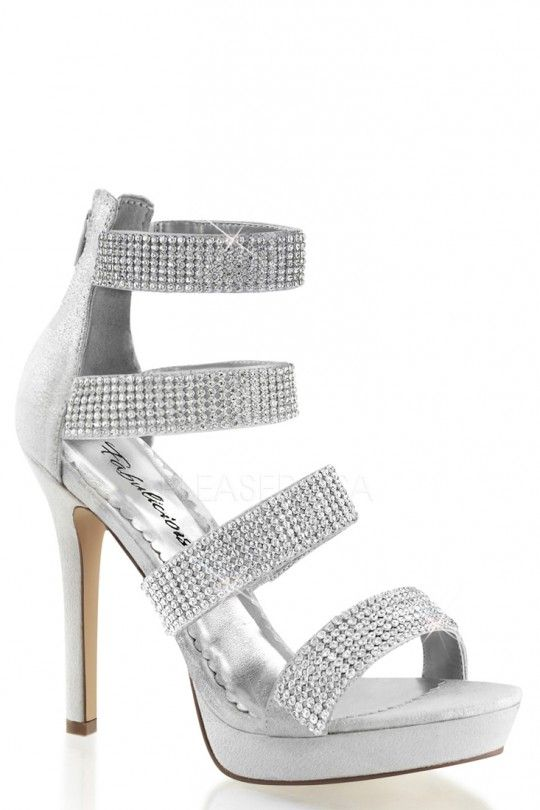 Silver Rhinestone Strappy High Heels Fabric