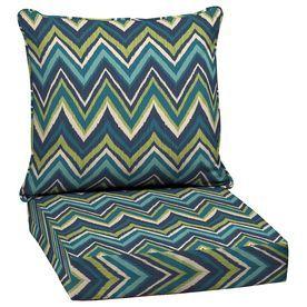 Garden Treasures Blue Flame Stitch Glenlee Blue Flame Stitch Geometric Deep Seat  Patio Chair Cushion For Deep Seat Chair