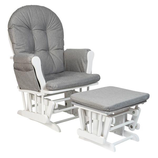 Phenomenal Superb Babylo Milan Glider Chair And Footstool White Grey Machost Co Dining Chair Design Ideas Machostcouk