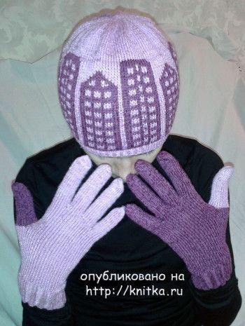 Шапка «Городские огни» и перчатки «день ночь». Вязание спицами.