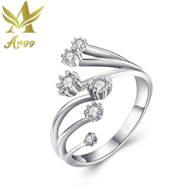 Check lastest price ANGG Women Jewelry 925 Sterling Silver Adjustable Ring Cubic Zirconia Round Wedding & Engagement Ring Wedding Set Women Rings just only $8.42 with free shipping worldwide  #weddingengagementjewelry Plese click on picture to see our special price for you