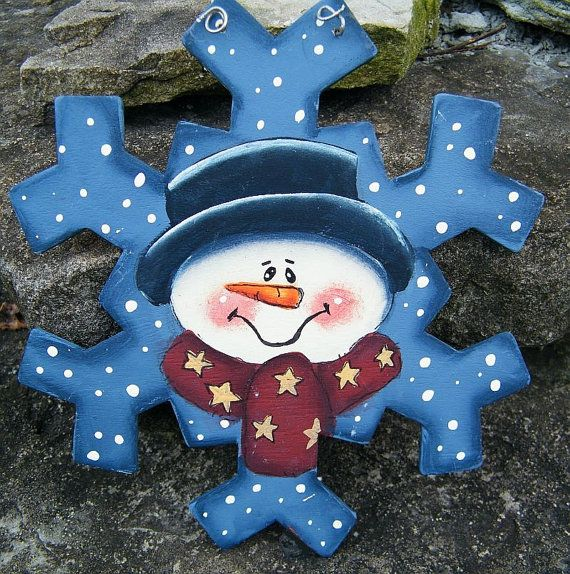 Snowman Snowflake Ornament Hand Painted Wooden by ArtByAudet, $6.00