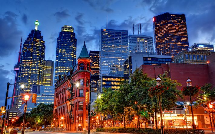 Download wallpapers Toronto, 4k, nightscapes, modern buildings, Canada