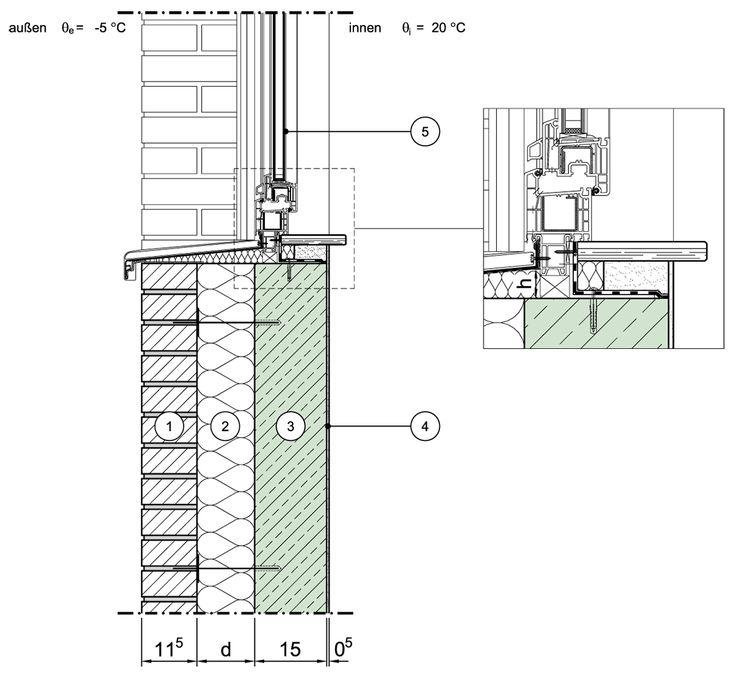 Detailseite - Planungsatlas Hochbau - Zweischalige Außenwand aus Normalbeton mit Kerndämmung - Randanschlüsse ohne zusätzliche thermische Einflüsse (z.B. Fensterrahmen) - Fensterbrüstung, Variante 1, Fensterlage in Dämmebene -