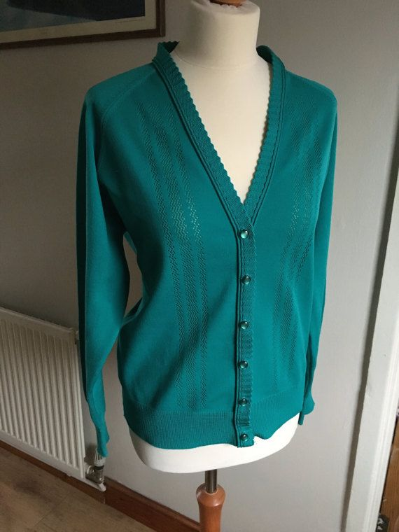 Vintage Knitted cardigan  Turquoise blue green  60s 70s