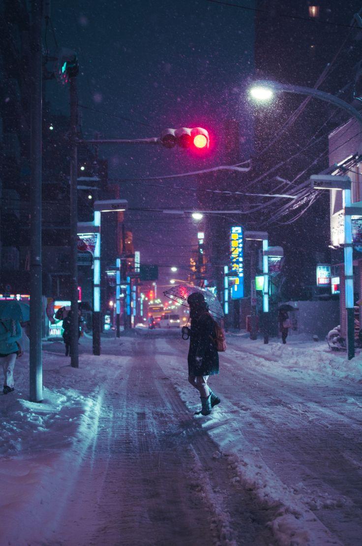 Winter time street lights.