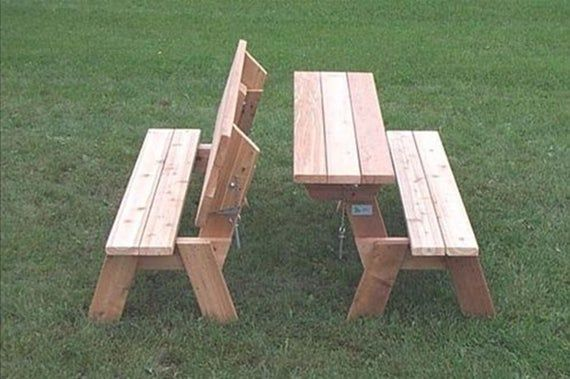 Folding Picnic Table Plan Folding Bench Plan Combo Picnic Etsy In 2020 Folding Picnic Table Plans Picnic Table Plans Folding Picnic Table