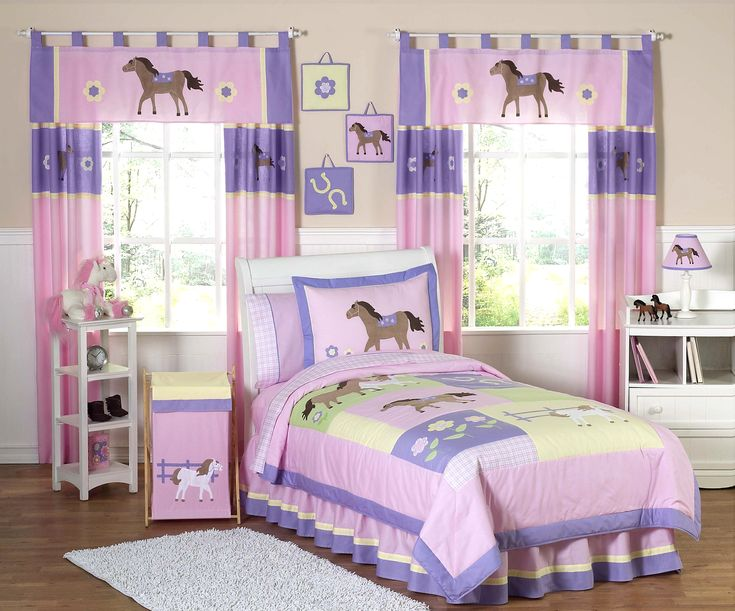Pink Pony Horse Bedding for Girls Twin Comforter Sets 4pc Bed in a Bag