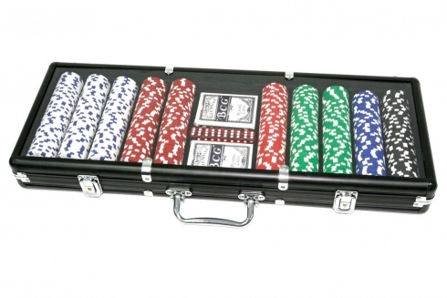 SET POKER 500 FICHES VALIGIA NERA. Set da poker da 500 fiches, grammatura 11.50 da gara non numerate 5 dadi,  due mazzi di carte,  gettone dealer-in valigetta nera