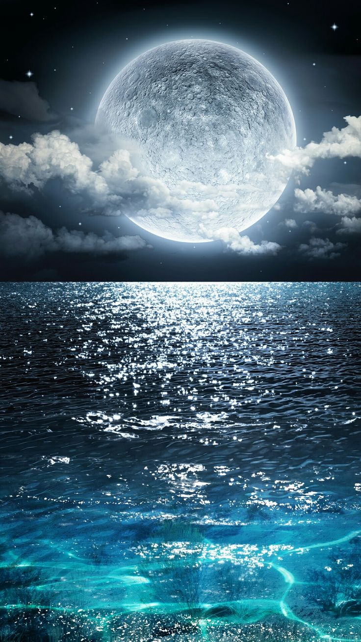 Blue Moon with Ocean from Zedge Papel de parede de arte