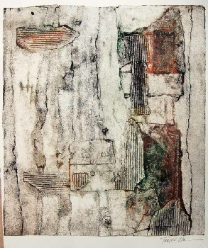 Artist: Frances Wider. Title: Time. Description: Collagraph.