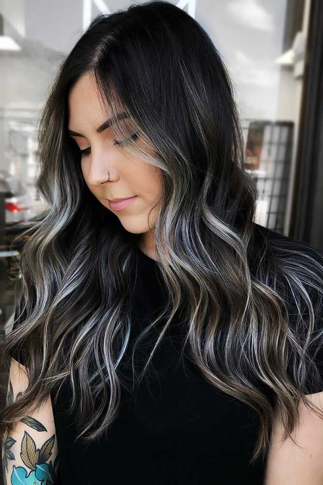 40 Ideas To Freshen Up Your Hair Color With Partial Highlights | Hair color for black hair, Dark hair with highlights, Blonde highlights on dark hair