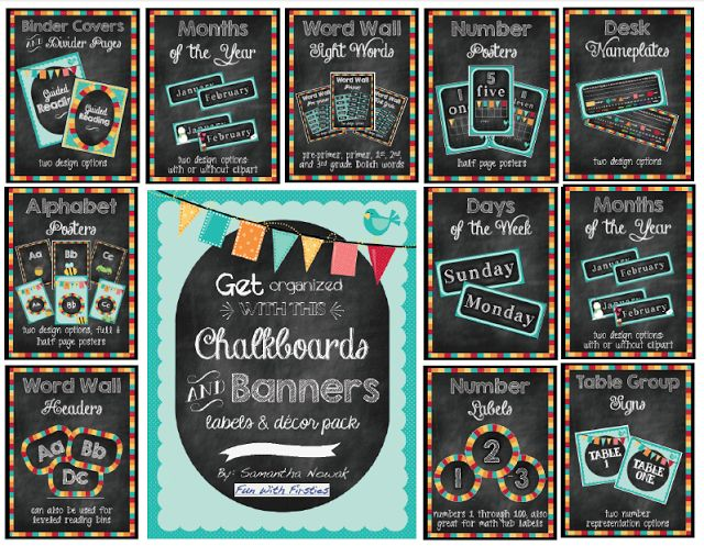 308 page Chalkboards & Banners classroom decor theme and labels
