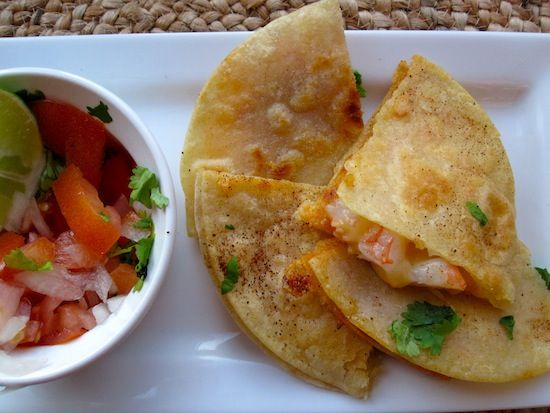 Quesadillas de Camarones (Shrimp Quesadillas)   guacamole, salsa or picca de gio, 2% cheese ,
