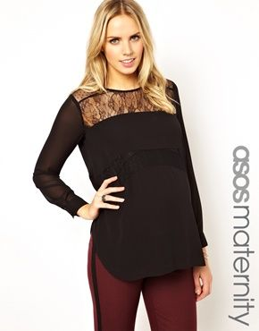 Image 1 ofASOS Maternity Top With Dobby Spot And Lace Panels