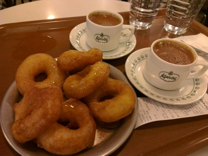 The Loukomades (syrup donuts) at Κρινοσ (Krinos), 87 Aioulou, Athens.