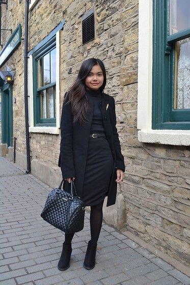 Promod Black Coat, Terranova Black Turtleneck, Forever 21 Black Pencil Skirt, Mango Black Bag, New Look Suede Ankle Boots