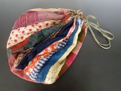Japanese Antique Vintage Fabric Patchwork Boro Drawstring Bag Pouch Hand sewn