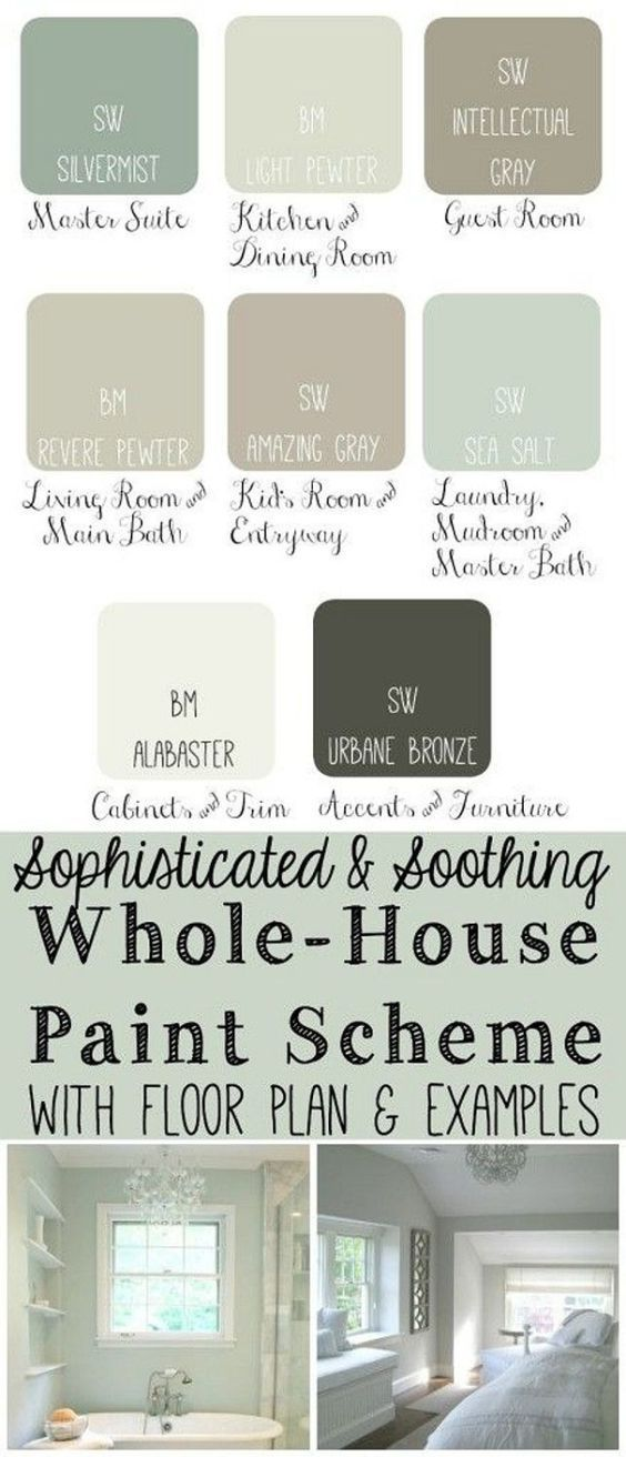 Whole House Paint Scheme: Master Bedroom: Sherwin Williams Silvermist. Kitchen Dining Room: Benjamin Moore Light Pewter. Guest Bedroom: Sherwin Williams Intellectual Gray. Living Room and Main Bathroom: Benjamin Moore Revere Pewter. Kids Bedroom: Sherwin