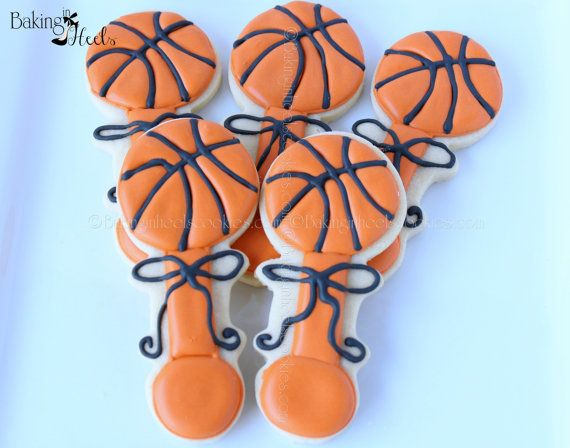 Basketball Baby Rattle Decorated Cookies Baby by Bakinginheels