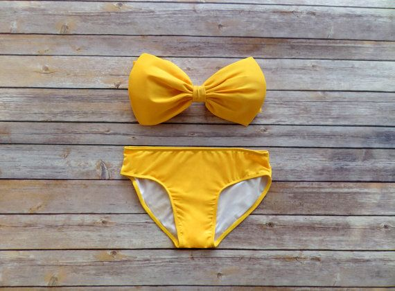 Bow Bandeau Bikini - Vintage Style Pin-up Swimwear In Sunshine Yellow - Unique  So Cute!