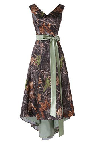 MILANO BRIDE Asymmetrical Camo Prom Dress Wedding Party Dress DoubleNeck Sash14OliveGreen -- Check out the image by visiting the link.