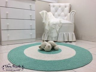 Tapete de crochê redondo verde água off white - bebê Pedro - comprar online