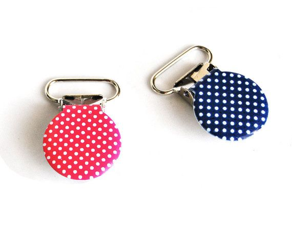 10 Hot Pink Polka Dots Suspender Clips 7/8. pacifier