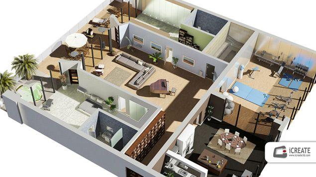 Image for home design plans 3d ideas sai pinterest for House floor plans 3d