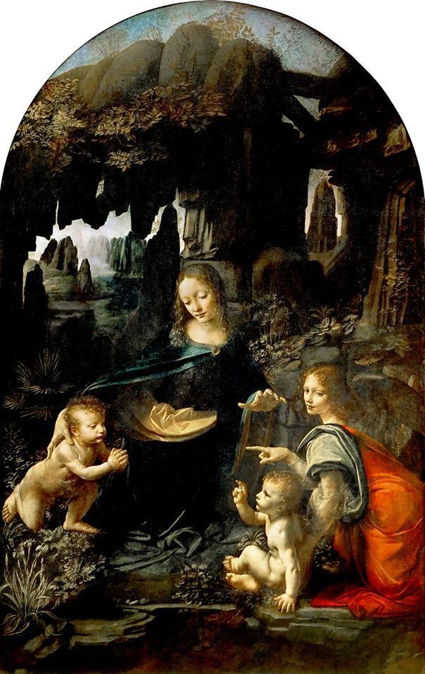 A Virgem das Rochas (1483-1486) Leonardo da Vinci - Museu do Louvre   Há duas versões da Virgem das Rochas, uma (a anterior) no Museu do Louvre, Paris e a outra na National Gallery, em Londres.  Esta versão foi pintada em torno de 1483-1486, ou mais cedo. A maioria dos estudiosos são unânimes em afirmar que o trabalho foi em sua maior parte executado por Leonardo, e é a primeira das duas versões mundialmente conhecidas.  A obra é um dos primeiros grandes resultados do uso do chiaroscuro…