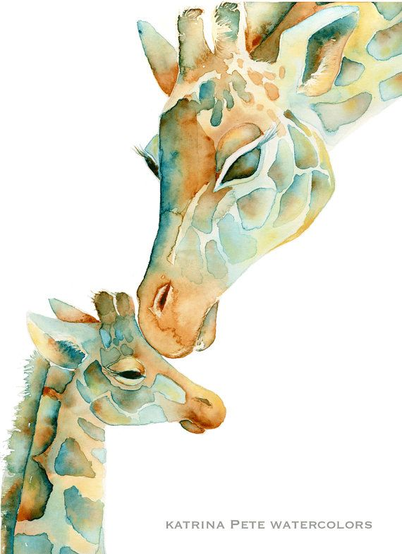Sun Baby Giraffe Mom and Baby PRINT of my original watercolor. Perfect for a newborn giraffe themed nursery or giraffe baby shower. (In