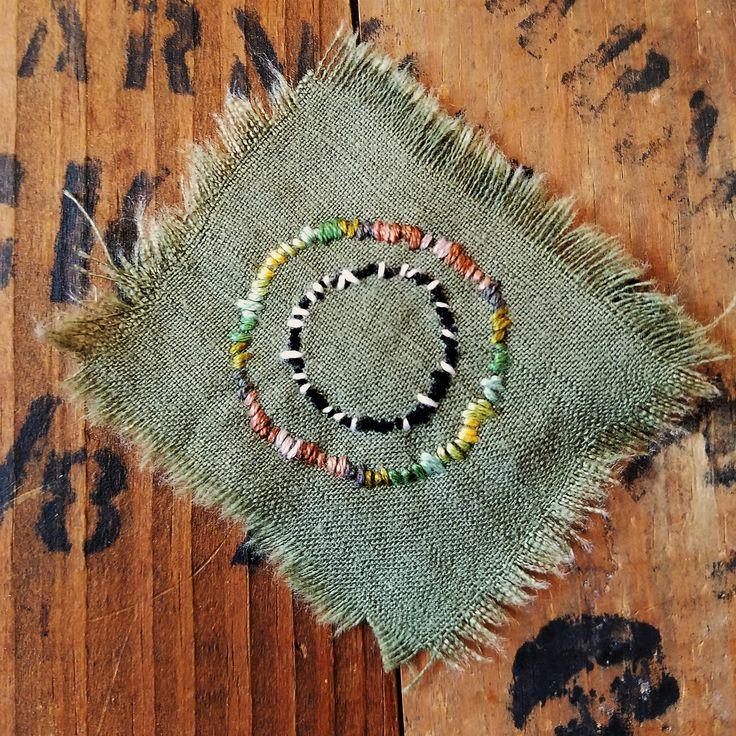 Japanese Sashiko Slow Stitch mending patch Sun Patchwork Applique square