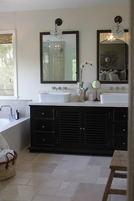 greige: interior design ideas and inspiration for the transitional home : Our Master Bath... black vanity, sinks
