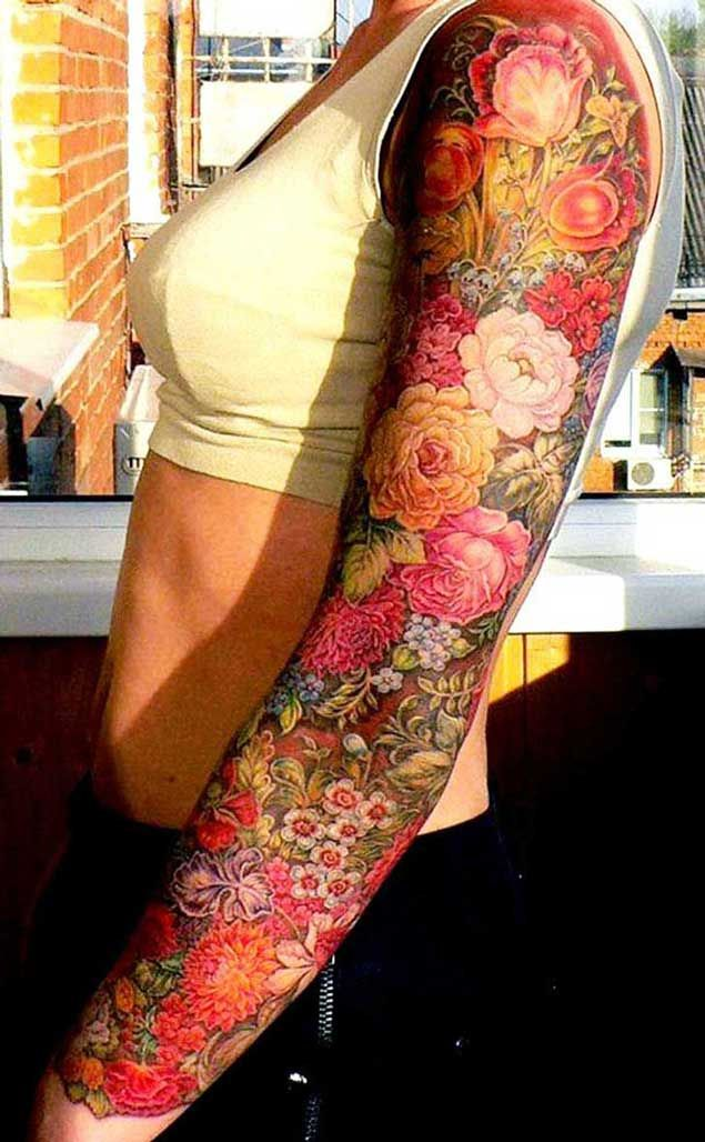 Beautiful full sleeve tattoo