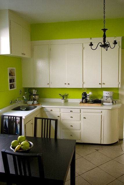 Green kitchen...swap in my black counters hmm decisions