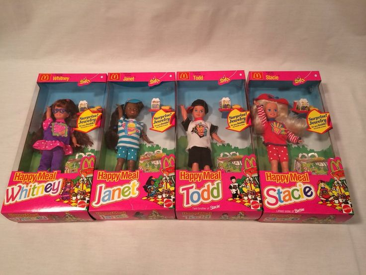 Play Set Dolls New Mcdonalds 1993 Happy Meal Barbies Janet, Todd, Whitney
