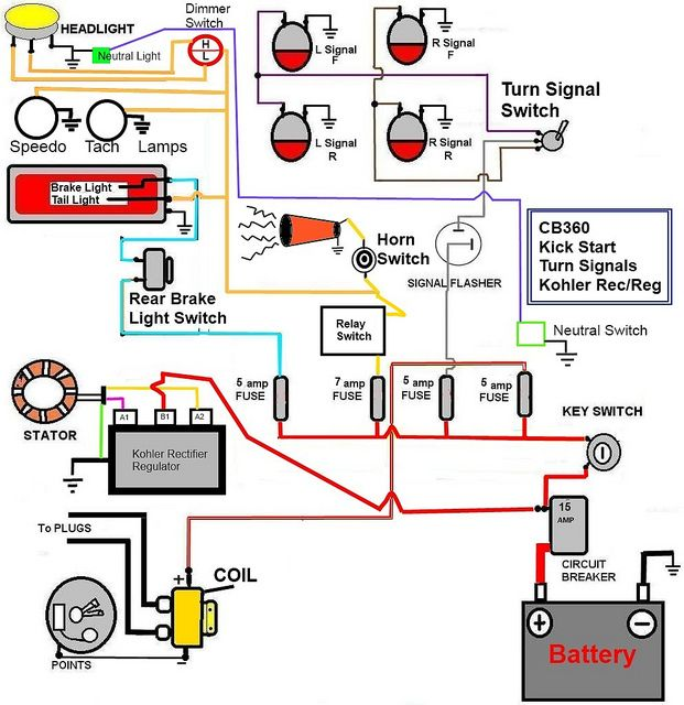 HONDA CB350 SIMPLE WIRING DIAGRAM Google Search USEFUL