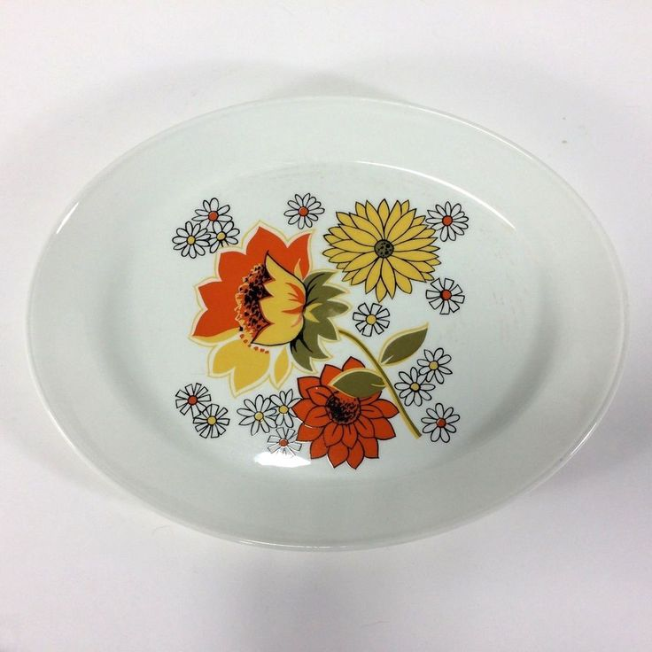 Johnson Brothers Pasadena Pattern Platter Rare 12 inch Orange Yellow Flowers 70s #JohnsonBrothers