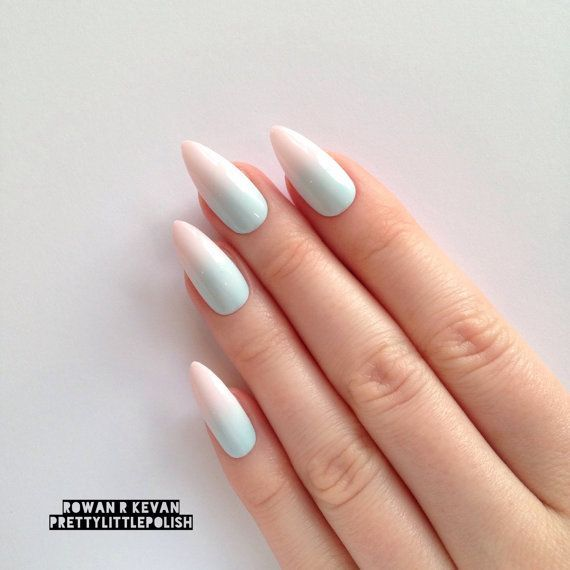 Fake Nails: Awesome Pastel Summer Ombre Gradient Stiletto Nails, Nail