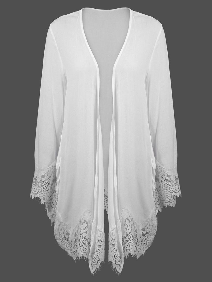 Lace Insert Duster Cardigan in White | Sammydress.com