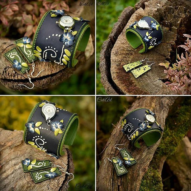Polymer clay wrist watches...with earrings...folk design #dnestvorim  #vyrobenosrdcem  #handmade  #polymerclay  #wristwatch  #wristwatches  #watches  #women  #jewellery  #set  #folk  #folklor  #earrings  #blue  #green  #white  #hodinky  #ludovyvzor  #ludove  #sada  #sperk  #naramkovehodinky  #nausnice  #modra  #zelena  #biela #darcek  #zena  #zenske  #vianoce