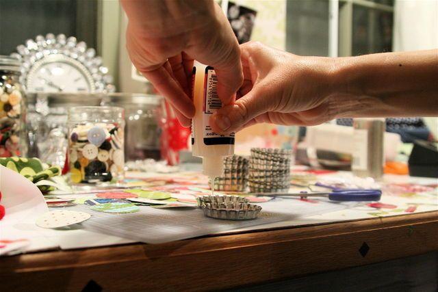 DIY Scrapbooking Project: Bottle Cap Embellishment (3 of 5)