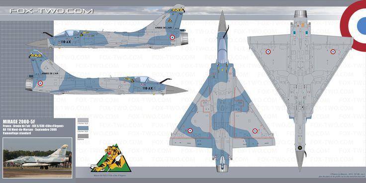 Couleurs et camouflage du Mirage 2000-5F code 118-AX numero 77 de l'escadron de chasse et d'expérimentation ECE 5/330 Côte d'Argent. Cet appareil participa au Nato tiger Meet 2009 sur la base de Kleine Brogel en Belgique.
