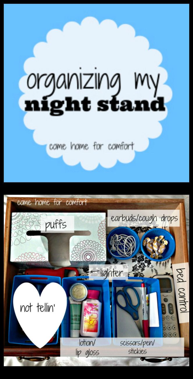 To see the rest of my posts about home organizing, click here. What's in my night stand: Puffs Ear buds Cough drops Lighter for my bedroom candles Hand cream Homemade lip balm (perfect for …