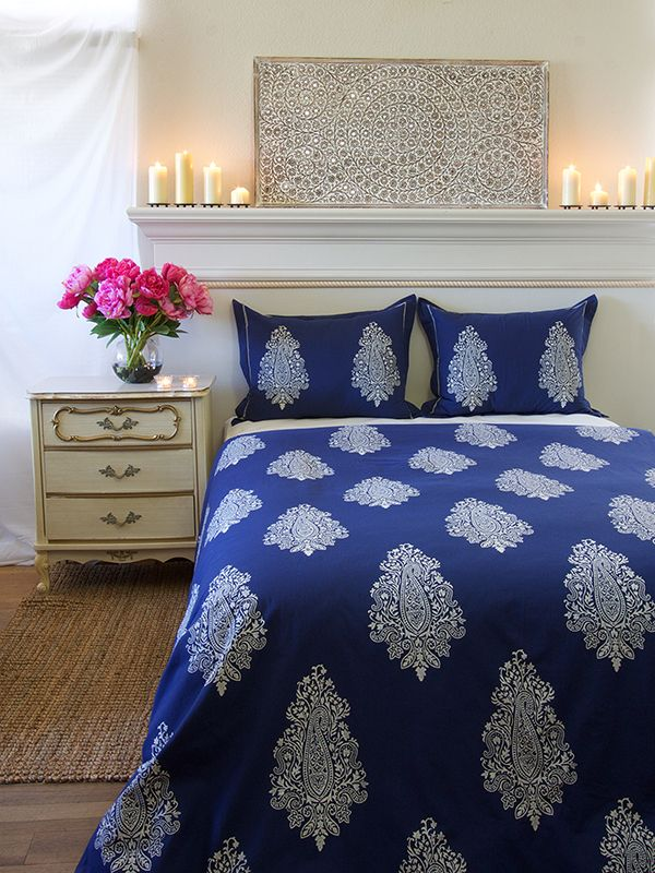 Navy Blue White Paisley Print King Duvet Cover Love A